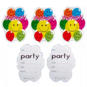 5 x Party Invitations With Envelopes - Smiley Face Balloons